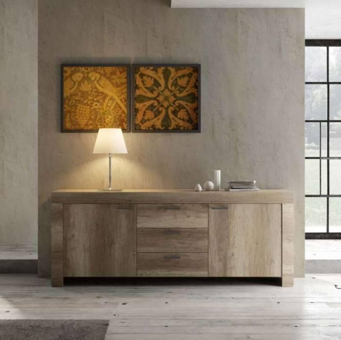 Bufet Sax, 83x43x210 cm, melamină, maro
