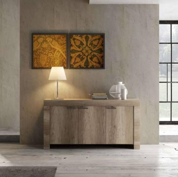Bufet Sax, 86x43x160 cm, melamină, maro