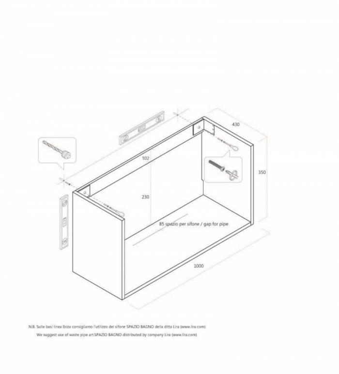 Dulap pentru lavoar cu sertar Perth Dark Tobacco, 35x45x100 cm, melamină, maro