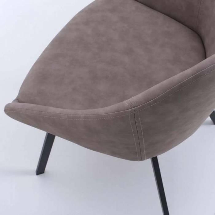 Set 2 scaune de living Monza, 77x44x51 cm, metal/ecopiele, gri