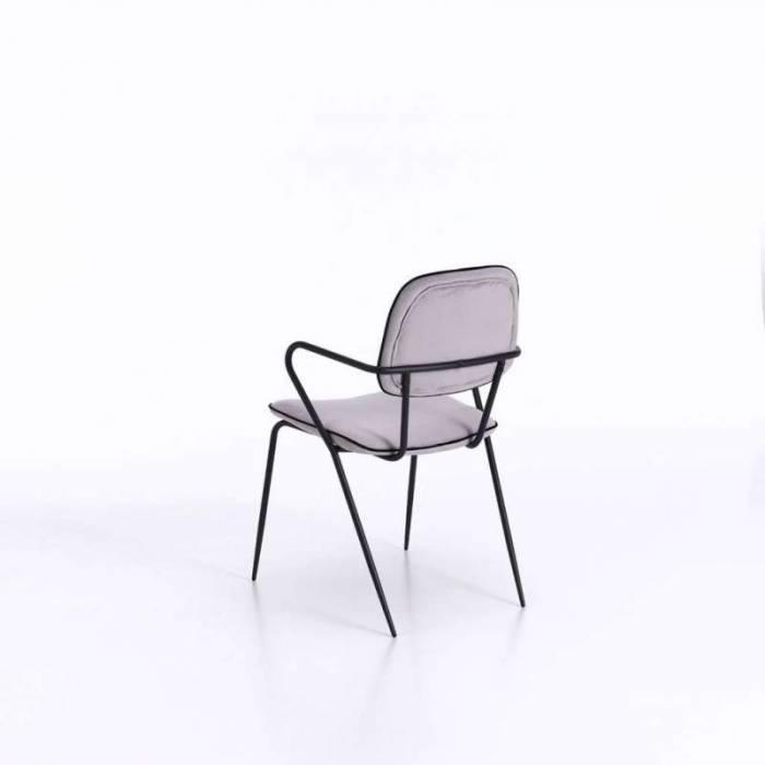 Set 4 scaune de dining Oita, 82x50x52 cm, metal/catifea, gri