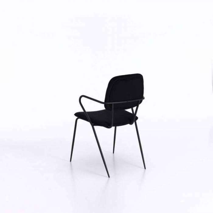Set 4 scaune de dining Oita, 82x50x52 cm, metal/catifea, negru