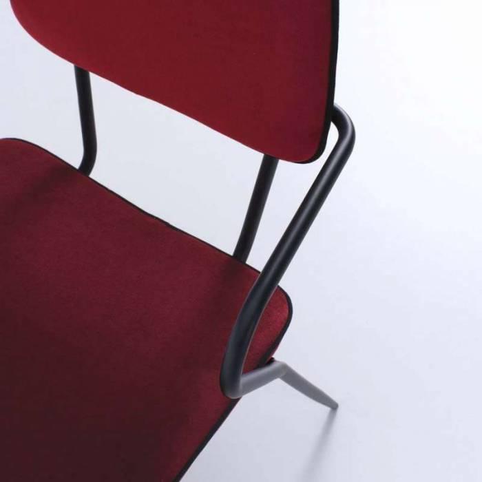 Set 4 scaune de dining Oita, 82x50x52 cm, metal/catifea, roșu