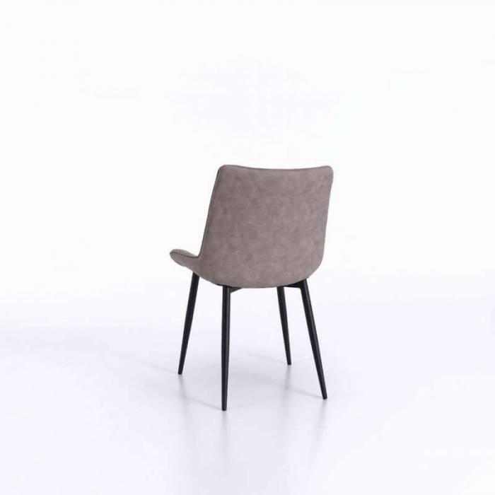 Set 4 scaune de living Charlotte, 85x52x49 cm, metal/ecopiele, gri