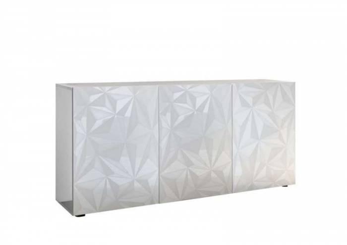 Bufet cu 3 uși Praga, 84x42x180 cm, melamină, alb