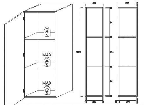 Dulap suspendat Cube, 140x31x29 cm, melamină, alb