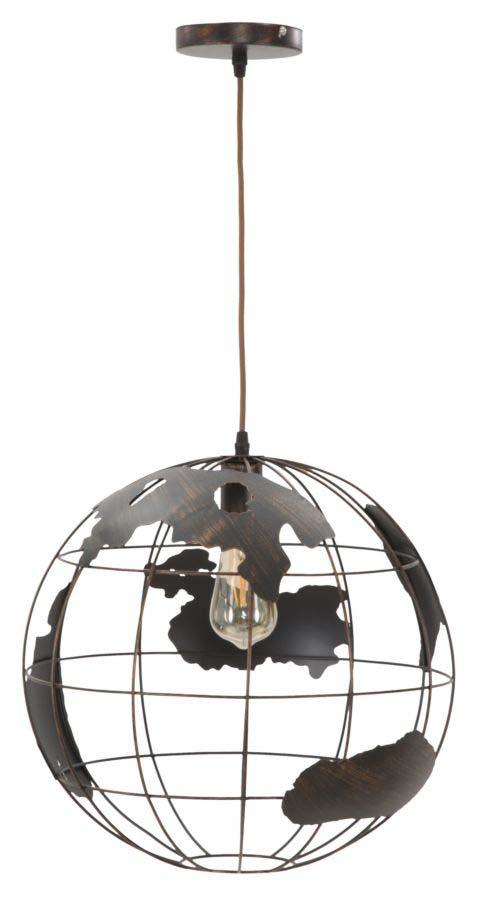 Lustră Industry, 40x40x40 cm, metal, negru poza