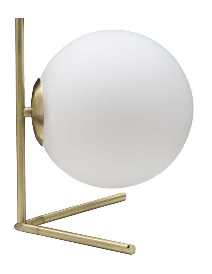 Veioză Glamy, 27x25x25 cm, metal/ sticla, alb/ auriu poza