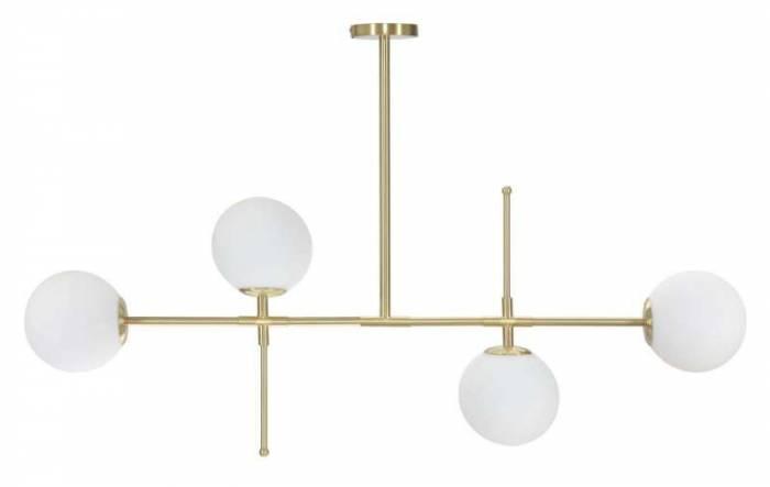 Lustră Glamy Luci, 80x128x18 cm, metal/ sticla, auriu/ alb