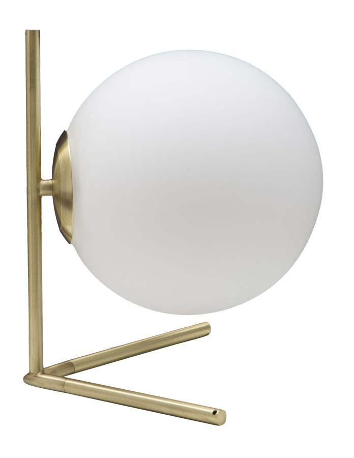 Veioză Glamy, 27x25x25 cm, metal/ sticla, alb/ auriu