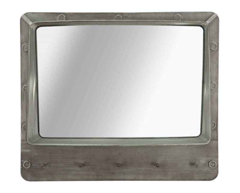 Oglindă de perete Bolt, 60x70x19.5 cm, metal/ sticla, gri poza
