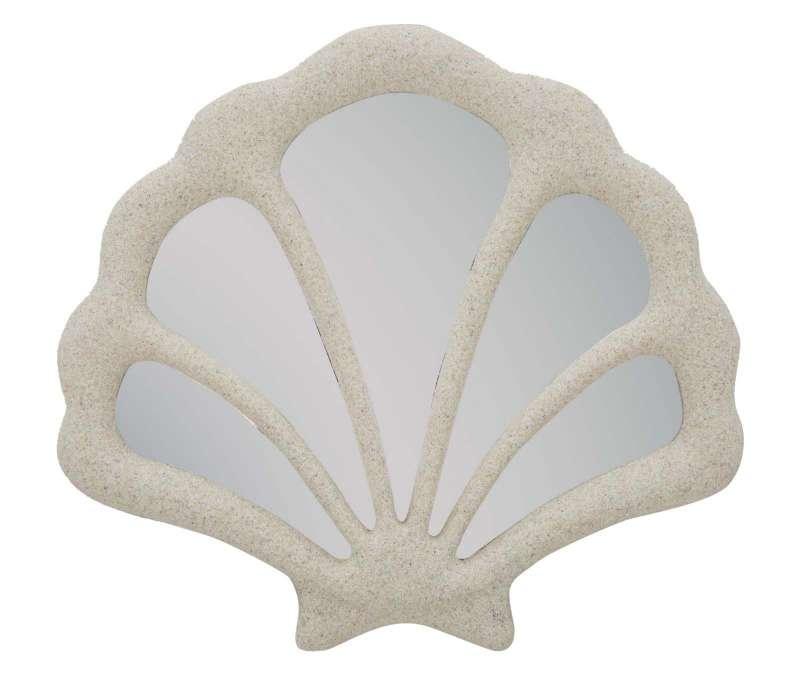 Oglindă de perete Conchiglia, 37,3x40,5x2,3 cm, rasina/ sticla, bej poza