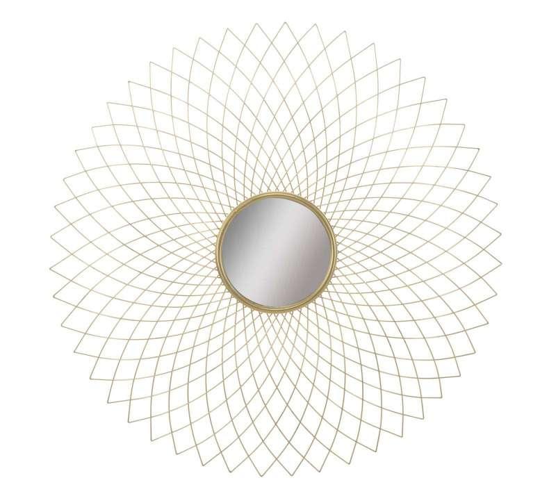 Oglindă de perete Eclipse, 99,5x99,5x6 cm, metal/ mdf/ sticla, auriu poza