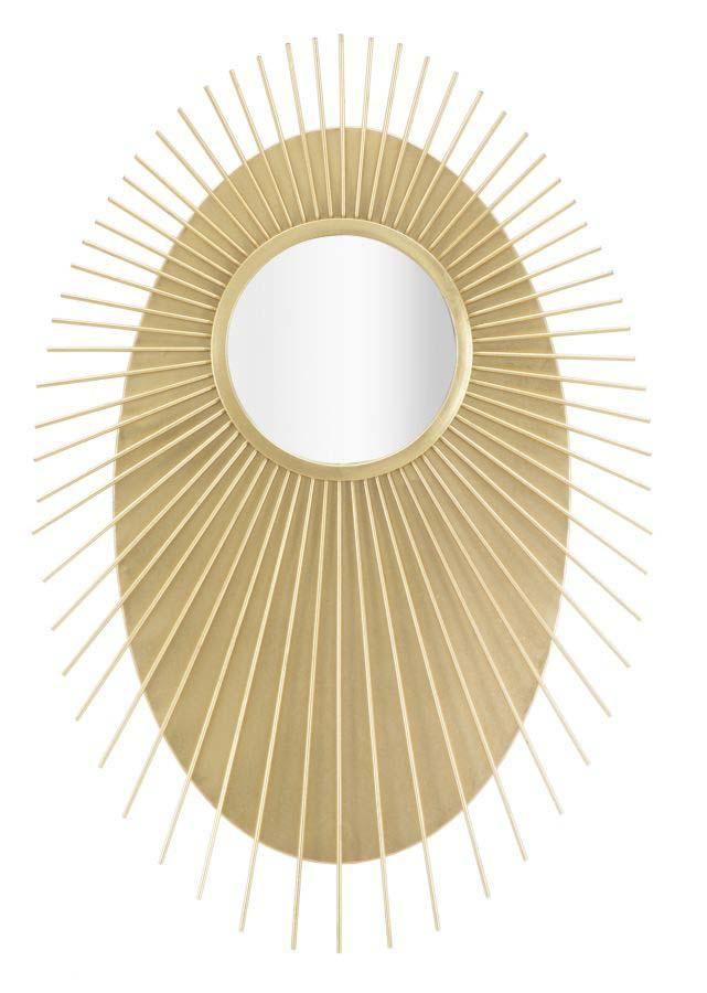 Oglindă de perete Glam, 110,5x75x8 cm, metal/ mdf/ sticla, auriu poza
