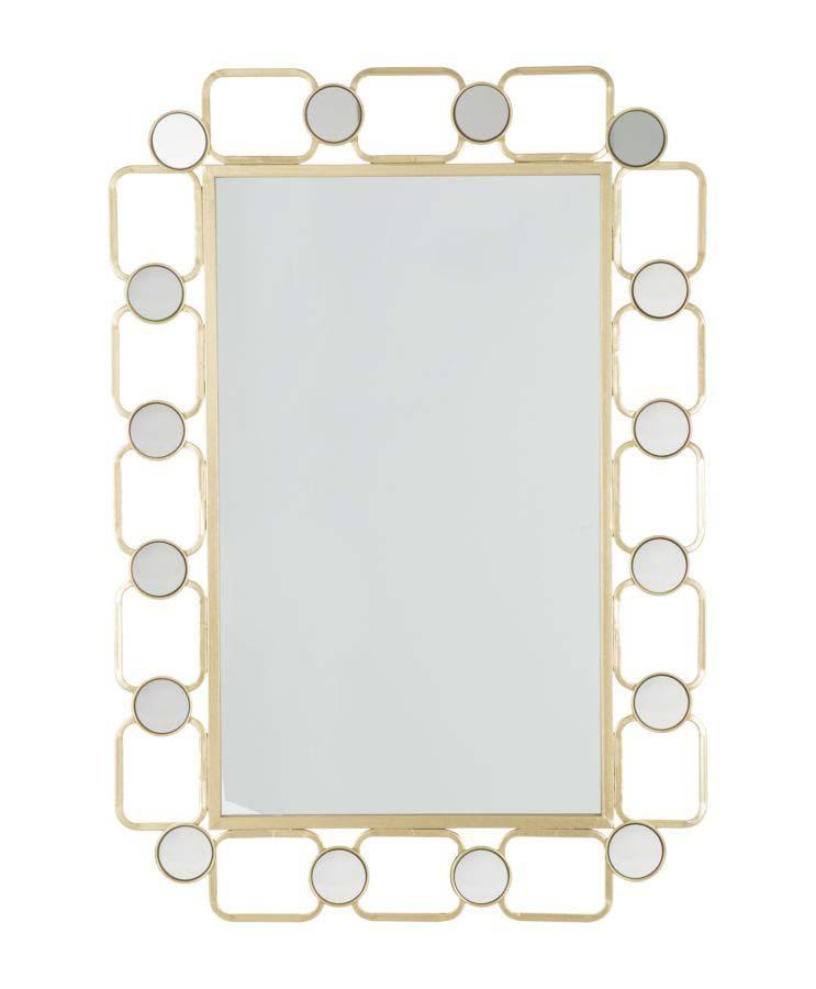Oglindă de perete Glosh, 102x71x2 cm, metal/ sticla, auriu poza