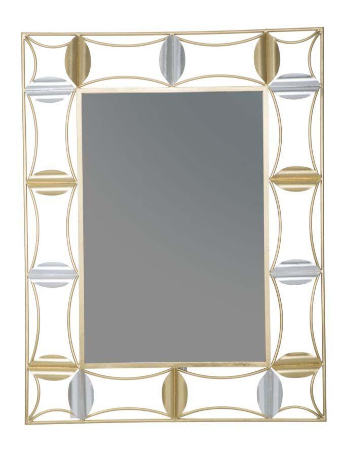 Oglindă de perete Leaf Glam, 112x86x3 cm, metal/ sticla, auriu poza