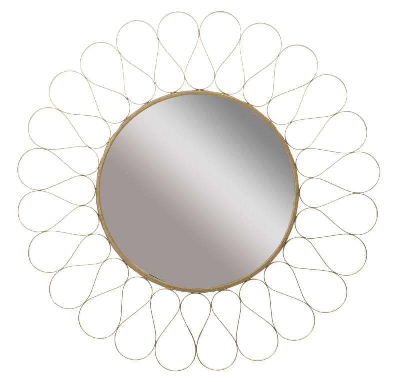 Oglindă de perete Venice, 89,5x89,5x2,5 cm, metal/ mdf/ sticla, auriu poza