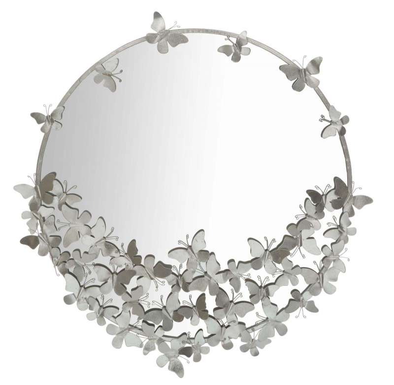 Oglinda De Perete Butterfly, 94x91x3 Cm, Metal/ Sticla, Argintiu
