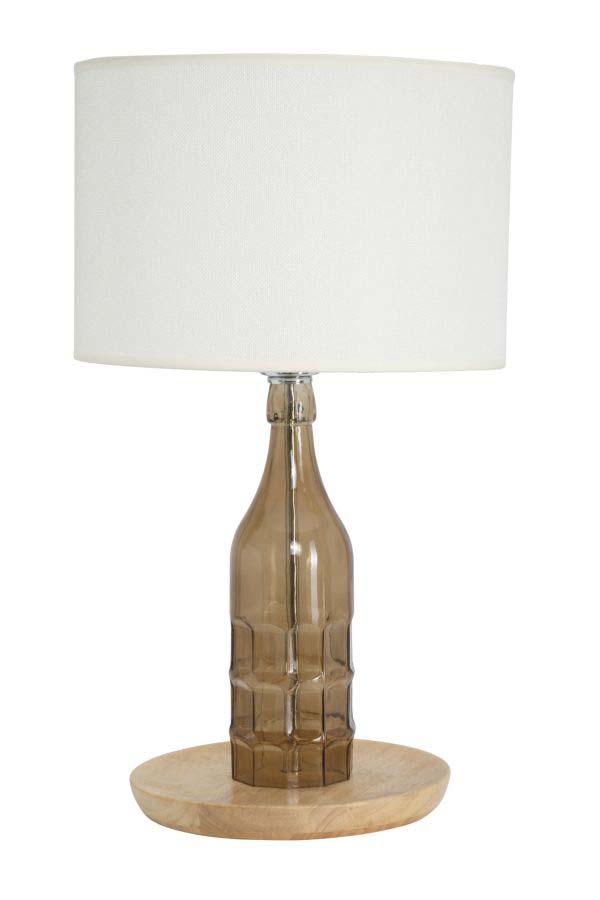 Veioză Bouteille, 52.5x30x30 cm, sticla/ metal/ textil/ lemn arbore cauciuc, alb/ maro