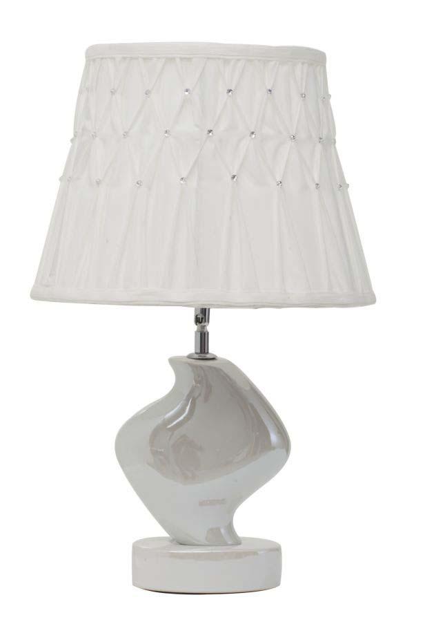 Veioză Curve, 52x32x32 cm, metal/ ceramica, alb/ argintiu