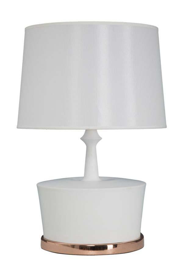 Veioză Geneve, 58.5x40x40 cm, metal/ canvas, alb/ cupru