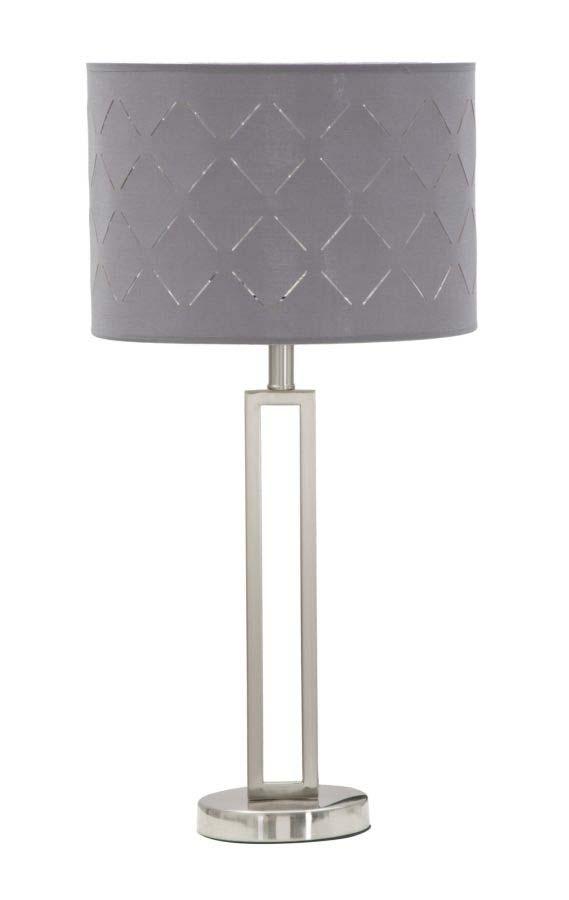 Veioză Silvery, 66x32x32 cm, metal/ pvc/ textil, argintiu/ gri