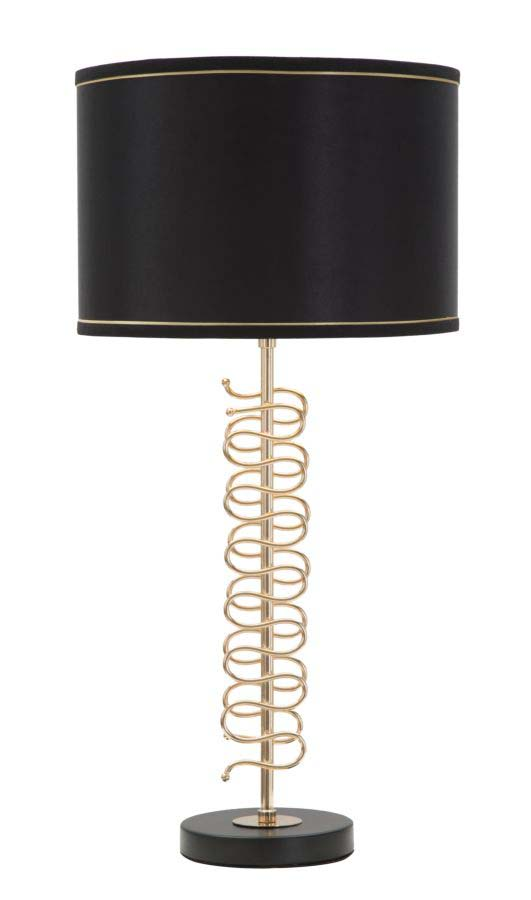 Veioză Twist, 68x32x32 cm, metal/ pvc/ textil, negru/ auriu
