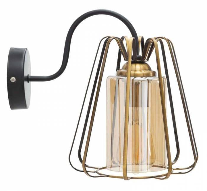 Aplică Iron, 27x22x30 cm, metal/ sticla, auriu/ negru