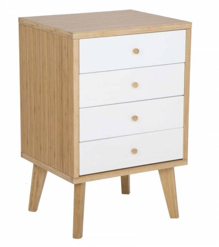 Comodă cu patru sertare Tokyo, 73x48x40 cm, lemn de bambus, maro/ alb
