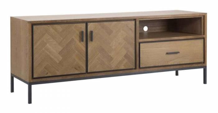 Comodă TV Male, 60x153x42 cm, lemn de brad/ furnir/ mdf/ metal, maro/ gri