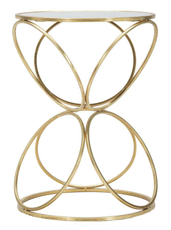 Consolă Circly, 53x38x38 cm, metal/ sticlă, auriu/ argintiu