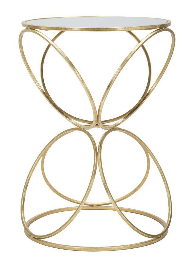 Consolă Circly, 61x42x42 cm, metal/ sticlă, auriu/ argintiu