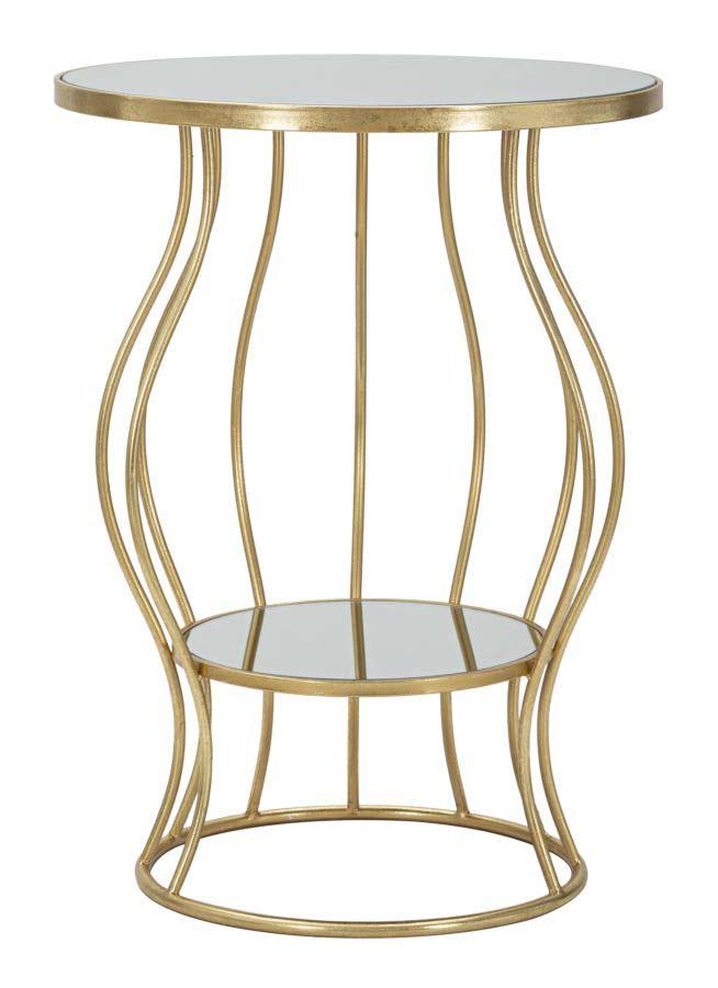 Consolă Flat, 68x50x50 cm, metal/ sticla, auriu/ argintiu