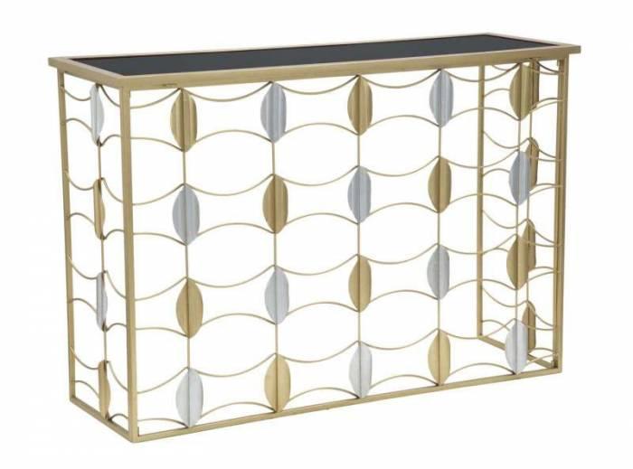 Consolă Glam Leaf, 81,5x120x40 cm, metal/ sticlă, auriu/ argintiu