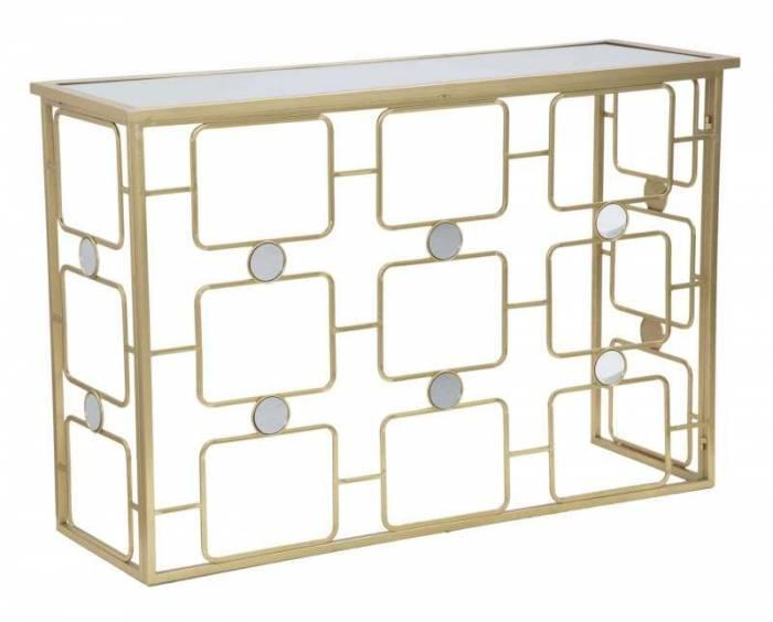 Consolă Glosh, 80x120x40 cm, metal/ sticlă, auriu