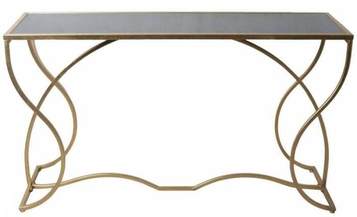 Consolă Sunshine, 75x130x40 cm, metal/ sticla, auriu/ negru