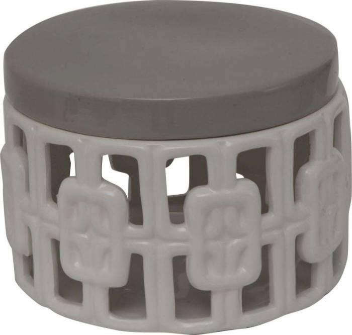 Decorațiune ceramică Arabesque, 14x19x19 cm, ceramica, alb/ gri