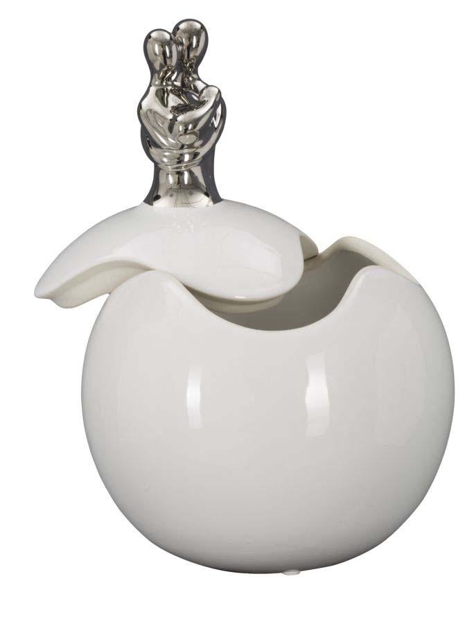 Decorațiune ceramică Family, 27.5x18x18 cm, ceramica, alb/ argintiu