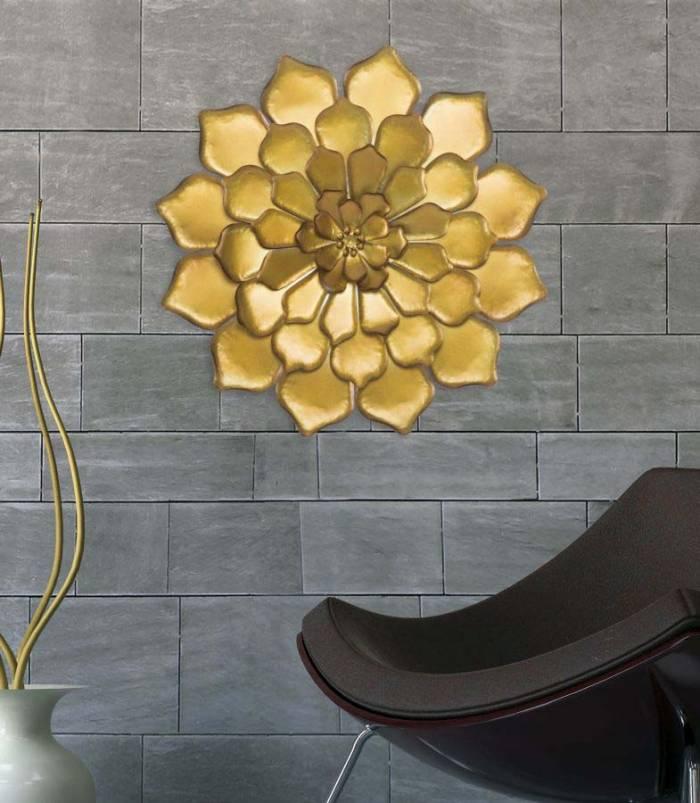 Decorațiune de perete Fiore Goldy, 62.5x62.5x5.5 cm, metal, auriu