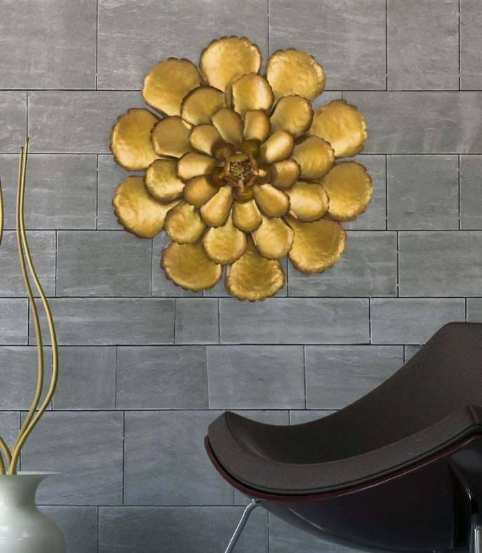 Decorațiune de perete Fiore Goldy, 64x64x5.5 cm, metal, auriu