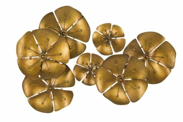Decorațiune de perete Flower Goldy, 57x80x6 cm, metal, auriu