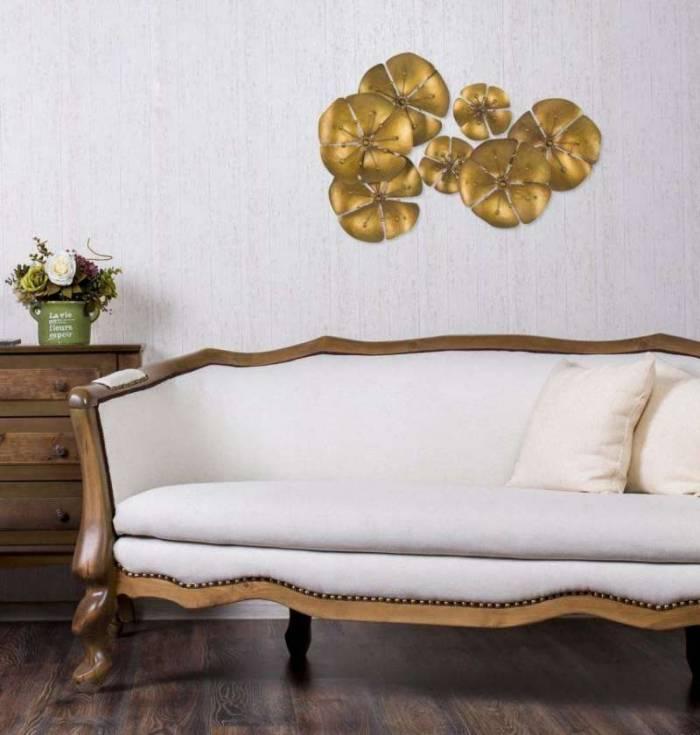 Decorațiune de perete Flower Goldy, 57x80x6 cm, metal, auriu