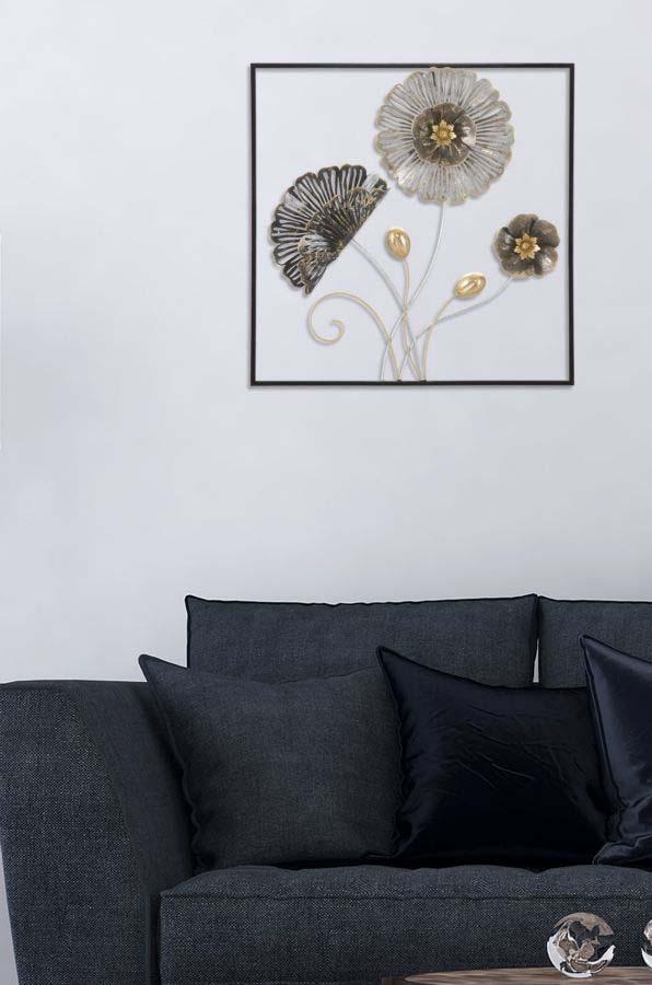 Decorațiune de perete Square, 50x50x5,5 cm, metal, multicolor
