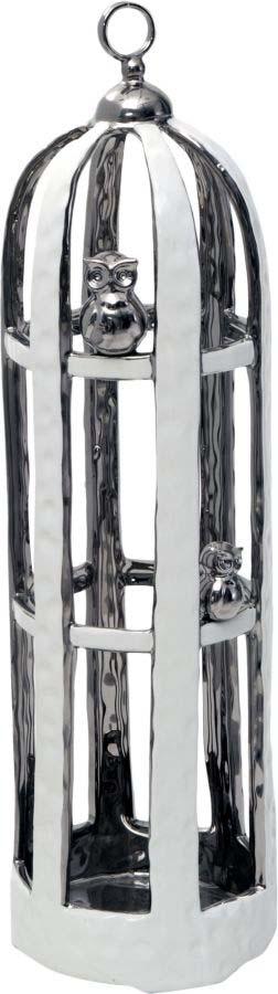 Decorațiune în formă de colivie Cage, 53x16x16 cm, ceramica, alb