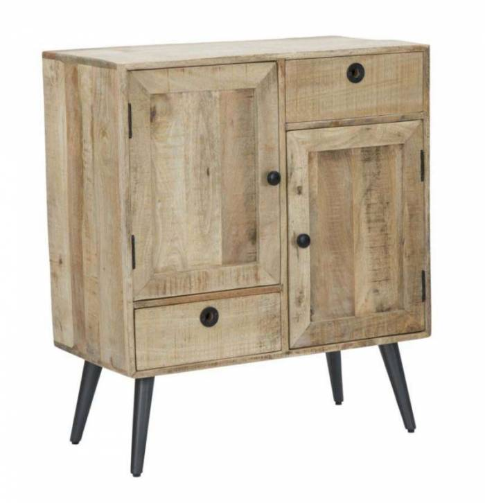 Dulap în stil scandinav Belgrado, 87x75x38 cm, lemn de mango/ mdf/ metal, maro/ negru
