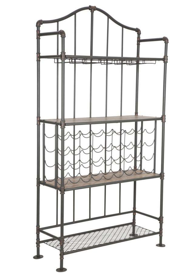 Etajeră cu suport de sticle Manhattan, 185x99x42 cm, metal/ mdf, negru