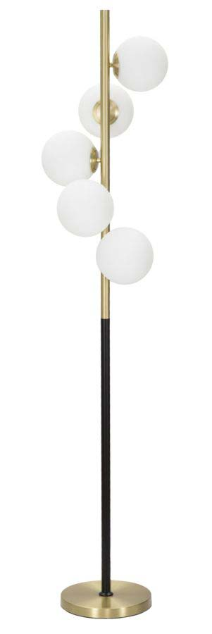 Lampadar Glamy Dark, 160x30x30 cm, metal/ sticla, auriu/ negru/ alb
