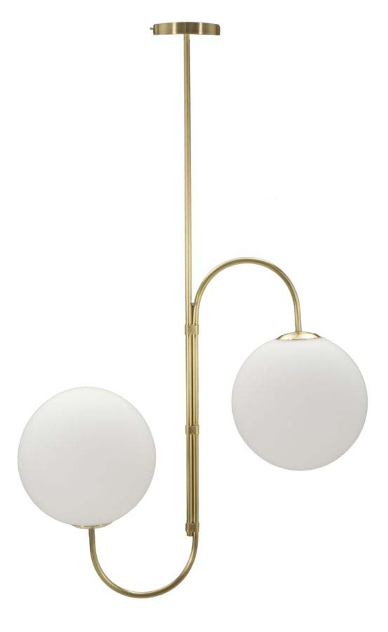 Lustră Glamy Duo, 100x62x25 cm, metal/ sticla, alb/ auriu