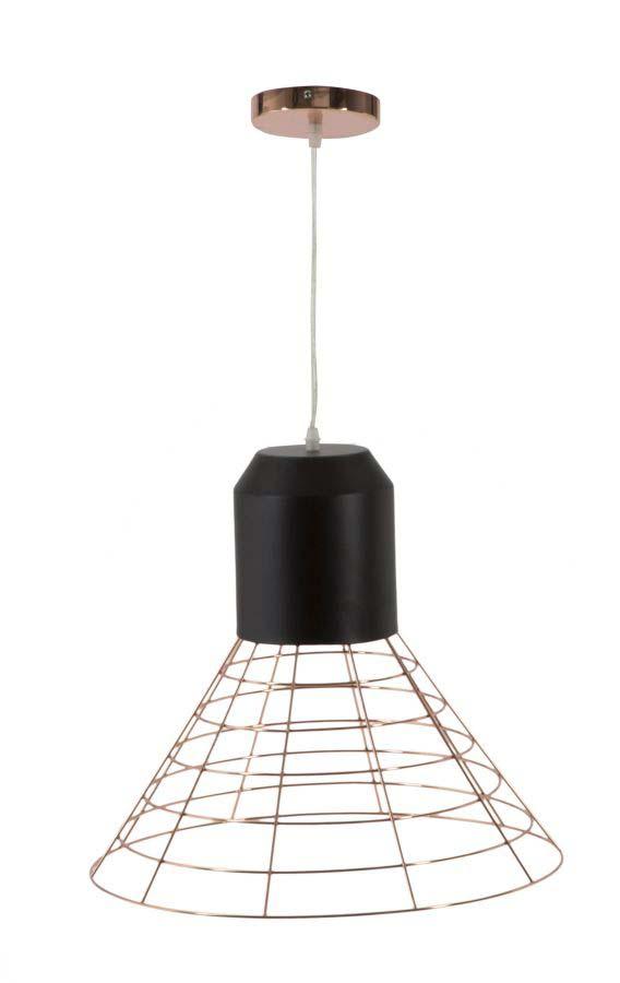 Lustră Net, 42x45x45 cm, metal, negru/ cupru