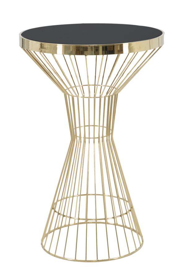 Masa de bar Empire, 95x60x60 cm, metal/ sticla, negru/ auriu